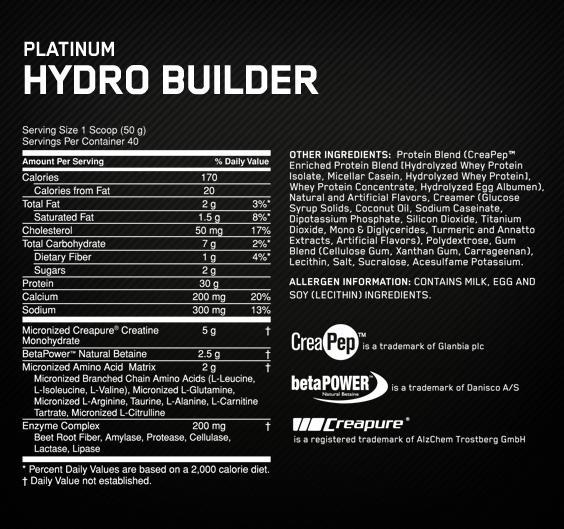 Optimum Nutrition Hydro Builder sudėtis