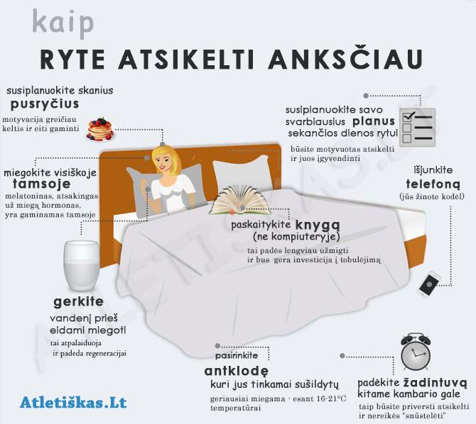 """Infografikas su patarimais """"Kaip atsikelti ryte"""""""